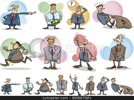 funny businessmen set stock vector clipart, cartoon illustration of funny businessmen in different situations by Igor Zakowski