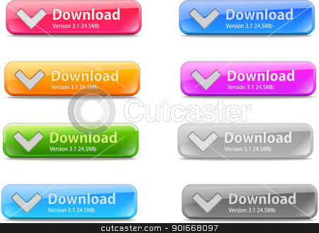 Download button stock vector clipart, Set of glossy download button  by vtorous