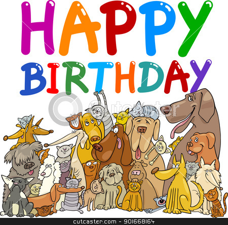 happy birthday design stock vector clipart, cartoon illustration design for happy birthday anniversary by Igor Zakowski