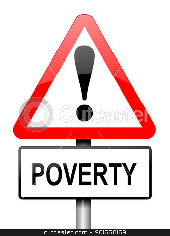 Poverty warning. stock photo, Illustration depicting a red and white triangular warning sign with a poverty concept.White background. by Samantha Craddock