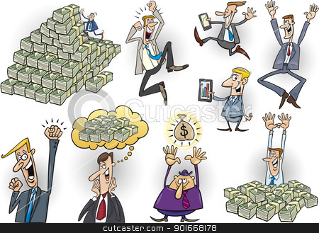 happy successful businessmen set stock vector clipart, cartoon illustration of happy successful businessmen set by Igor Zakowski