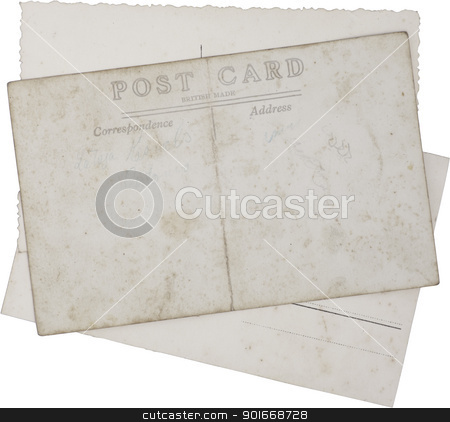 Old vintage postcards stock photo, Reverse side of Old vintage postcards isolated with clipping path by Ints Vikmanis