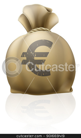 Euro sack stock vector clipart, Illustration of a big sack with Euro currency sign by Christos Georghiou