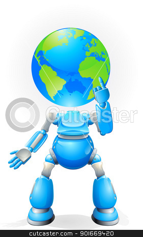 Globe head robot concept stock vector clipart, A world blue robot with a globe for a head. Conceptual illustration. by Christos Georghiou