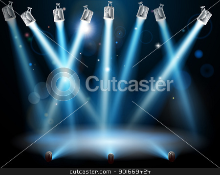 Blue spotlights background stock vector clipart, A blue spotlight background concept with lots of lights like spotlights in a light show or during a dramatic theatre stage performance  by Christos Georghiou