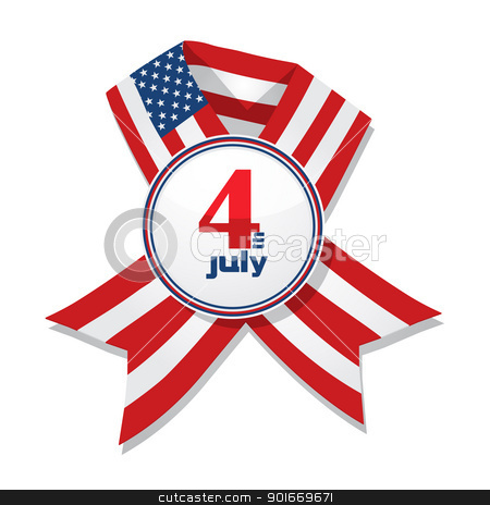 Independence Day badge stock vector clipart, 4th of July Independence Day badge with ribbon isolated on a white background. by Richard Laschon