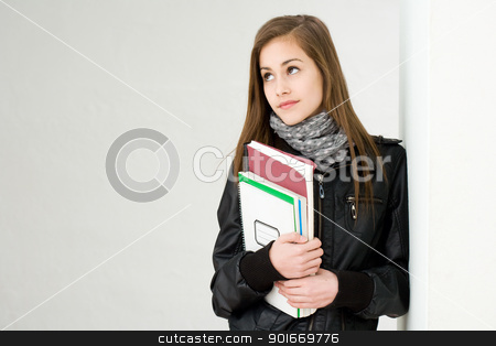 Very cute young student. stock photo, Portrait of a very cute young brunette student girl. by exvivo