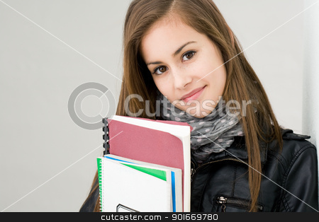 Attractive fresh young brunette student girl. stock photo, Portrait of attractive fresh young brunette student girl. by exvivo