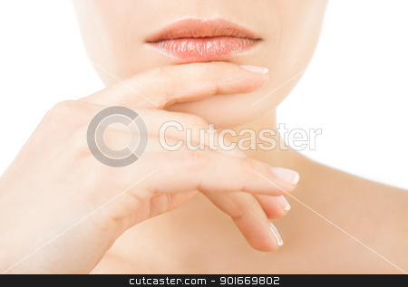 female lips stock photo, Close-up of beautiful female lips and hand on chin by vilevi