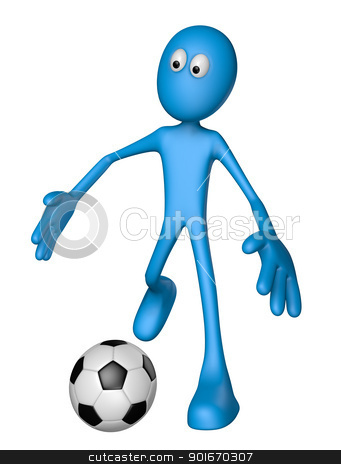 football stock photo, blue guy with soccer ball - 3d illustration by J?