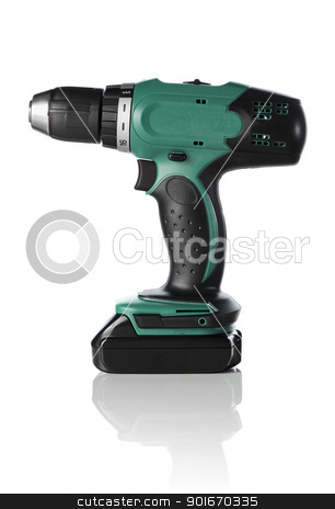 Cordless Drill stock photo, Professional grade battery-powered cordless electric drill. by Stocksnapper