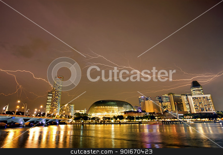 Singapore skyline stock photo, Sunset scene from the financial district,Singapore. From the river. by Kjersti Jorgensen
