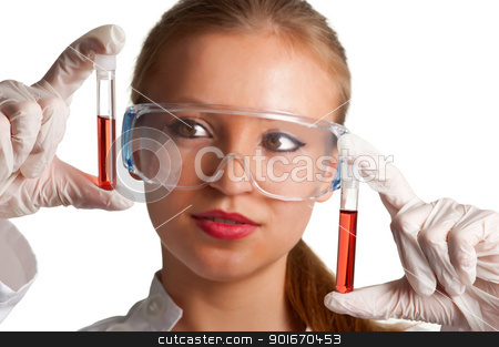 Blood Samples stock photo, Women looking at laboratory test tubes by ruigsantos