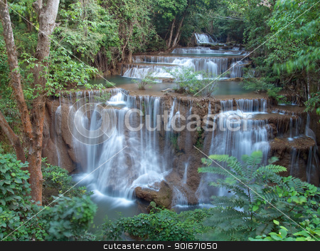 Huay Mae Kamin Waterfall stock photo, Fourth level of Huay Mae Kamin Waterfall, Khuean Srinagarindra National Park, Kanchanaburi, Thailand by Exsodus