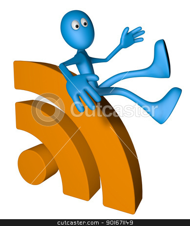rss symbol stock photo, blue guy and rss symbol - 3d illustration by J?
