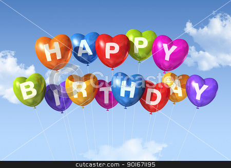 Happy Birthday heart shape balloons in the sky stock photo, colored Happy Birthday heart shape balloons floating in the sky by Laurent Davoust