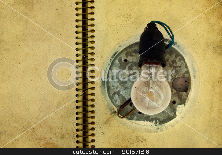 Textured electric bulb stock photo, Textured Old and dirty electric bulb  by borojoint