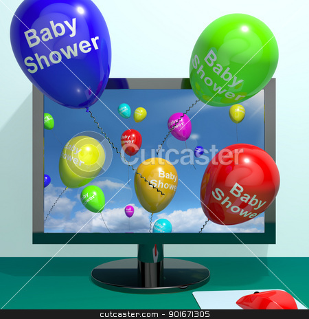 Baby Shower Balloons From Computer As Birth Party Invitation stock photo, Baby Shower Balloons From Computer As Birth Party Invitations by stuartmiles