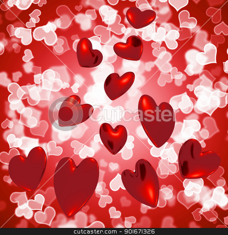 Hearts Falling With Bokeh Background Showing Love And Romance stock photo, Hearts Falling With Bokeh Background Shows Love And Romance by stuartmiles