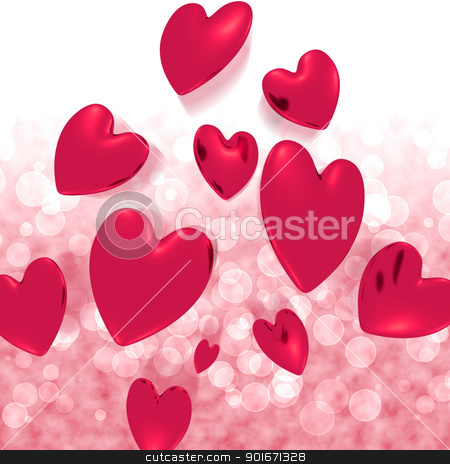 Hearts Falling With Red Bokeh Background Showing Love And Romanc stock photo, Hearts Falling With Red Bokeh Background Shows Love And Romance by stuartmiles