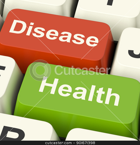 Disease And Health Computer Keys Showing Online Healthcare Or Tr stock photo, Disease And Health Computer Keys Showing Online Healthcare Or Treatments by stuartmiles