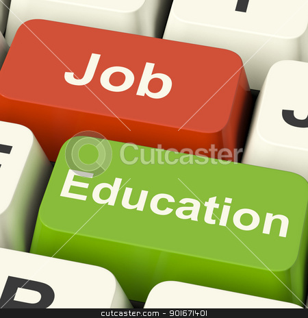 Job And Education Computer Keys Showing Choice Of Working Or Stu stock photo, Job And Education Computer Keys Shows Choice Of Working Or Studying by stuartmiles