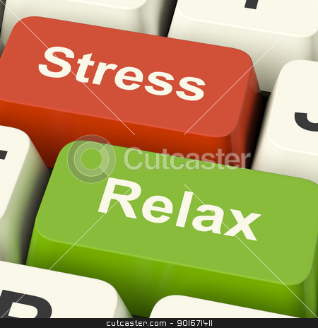 Stress Relax Computer Keys Showing Pressure Of Work Or Relaxatio stock photo, Stress Relax Computer Keys Shows Pressure Of Work Or Relaxation Online by stuartmiles