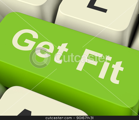 Get Fit Computer Key Showing Exercise And Working Out For Fitnes stock photo, Get Fit Computer Key Shows Exercise And Working Out For Fitness by stuartmiles