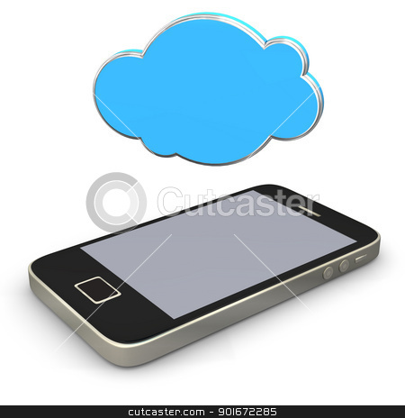 Mobile Cloud stock photo, Smartphone with cloud on the white background. by Alexander Limbach
