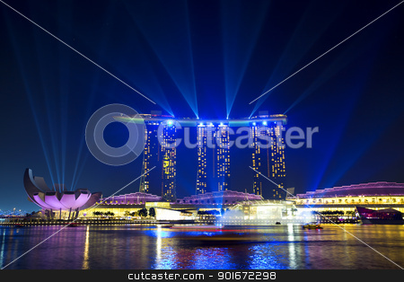 Marina Bay Sands stock photo, SINGAPORE  - APRIL 25: Wonder Full light show at Marina Bay Sands April 25, 2012, Singapore. Southeast Asia's largest light and water show. by Kjersti Jorgensen