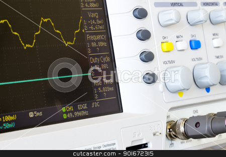 distorted voltage waveforms on a digital oscilloscope laboratory stock photo, distorted voltage waveforms at the inputs of a digital oscilloscope laboratory by ludinko