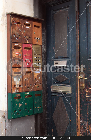 letterboxes stock photo, letterboxes of an old house by Torsten Lorenz