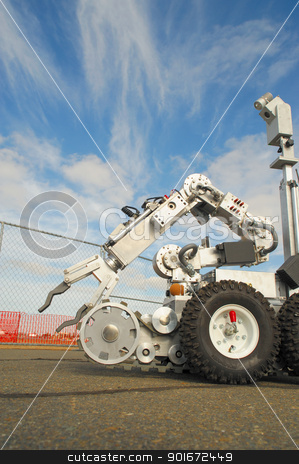 Tactical Bomb Squad Robot stock photo, Remote controlled robot used by the military and police for inspection of a possible bomb or dangerous situation by Lynn Bendickson