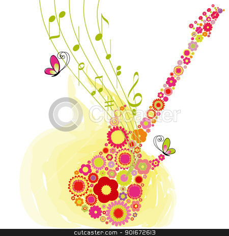 Springtime flower guitar music festival background stock vector clipart, Abstract Springtime flower guitar music festival background by meikis