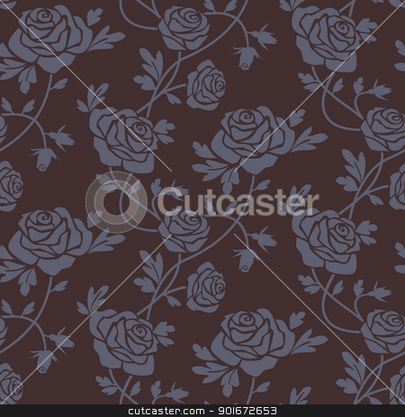 Roses damask seamless pattern stock vector clipart, Romantic dark roses seamless pattern, repeating design, vector illustration by Ela Kwasniewski