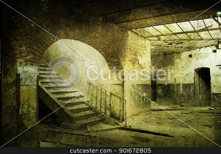 horror room with stairs abandoned stock photo, old forgotten military fort by lemonfluffy