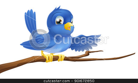 Bluebird sitting on  branch pointing stock vector clipart, Illustration of a bluebird sitting on a tree branch pointing or showing by Christos Georghiou