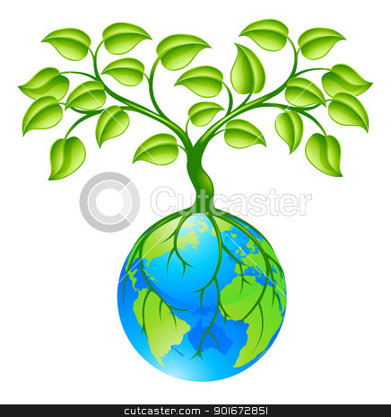 Planet earth globe with three concept stock vector clipart, Concept illustration of planet earth world globe with a tree growing on top. Any number of green environmental or business growth interpretations.  by Christos Georghiou