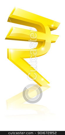 Rupee currency sign stock vector clipart, Illustration of a big shiny gold Rupee currency sign by Christos Georghiou