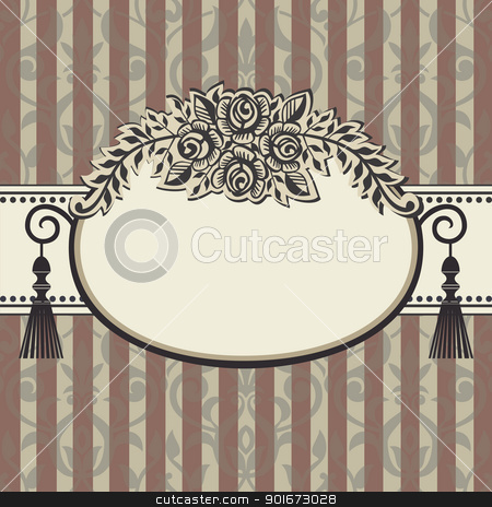 Retro roses vintage stock vector clipart, Vector illustration roses frame with space for your text on brown grey background with ornaments by Ela Kwasniewski
