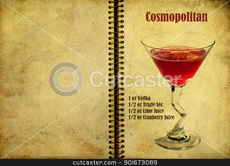Manhattan recipe stock photo, Old,vintage or grunge Spiral Recipe  Notebook with Manhattan  cocktail  on the page.Room for text by borojoint