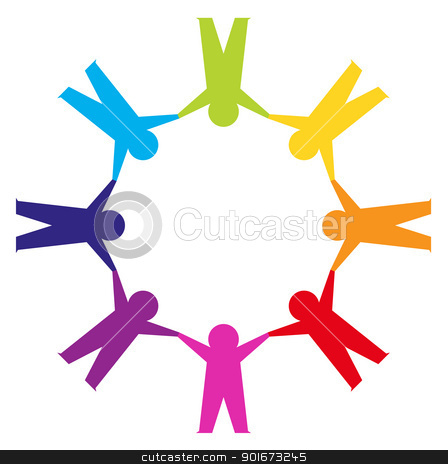 Paper people in circle holding hands stock vector clipart, Group of people in a circle isolated on white by BEEANDGLOW