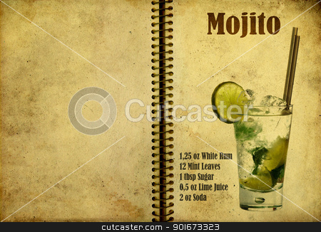Mojito recipe stock photo, Old,vintage or grunge Spiral Recipe  Notebook with Mojito  cocktail  on the page.Room for text by borojoint
