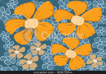 Flower abstract background stock vector clipart, Retro style flower background abstract vector image. by antkevyv