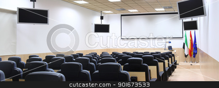 conference room stock photo, conference room equipped with modern screen monitors and armchairs by croreja