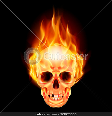 Scary skull on fire stock photo, Scary skull on fire. Illustration on black background by dvarg