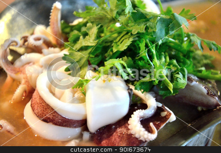 Steamed squid with lime stock photo, Steamed squid with lime, Thai food by Patipat Rintharasri
