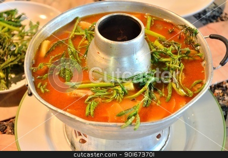 Sour soup made of tamarind paste, Thai food stock photo, Sour soup made of tamarind paste with seafood by Patipat Rintharasri
