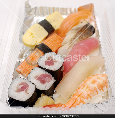 Sushi in plastic box , Food for take home  stock photo, Sushi in plastic box , Food for take home  by Patipat Rintharasri