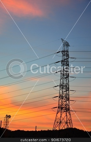Eletric power post with sunset sky stock photo, Eletric power post with sunset sky background. by pixbox77